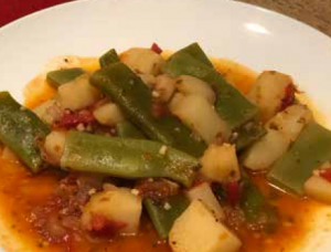 Spicy Braised Romano Beans With Tomatoes